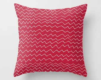 Red Minimalist Pillow, Red Chevron Pillow Cover, scandinavian pillow, modern pillow, contemporary pillow, red pillow, Graphic Pillow