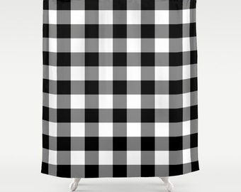 Plaid Shower Curtain Etsy