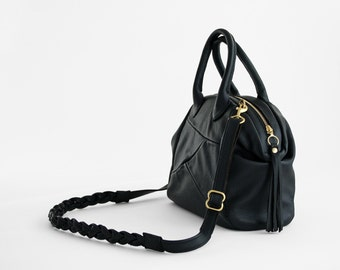 Cascadia in Black - Genuine Leather Handbag with detachable cross body strap