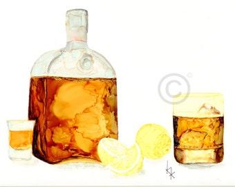 Four Different  Bar Watercolor Prints, Whiskey, Mixed Drinks, Wine and Beer
