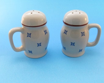 Large Ceramic Salt and Pepper Shakers with Handles