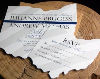 Ohio State Wedding Invitation - Ohio Cut Out Invite Card with Ohio State RSVP Card - Design Fee