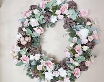 Door Wreath, Floral Wreath, Woodland Wreath, Bird's Nest Wreath, White Wreath, Wild Flower Wreath, Door Wreath, Home Decor, Spring Wreath
