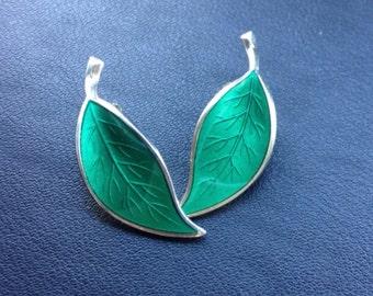 Vintage 1950's David Andersen silver and green enamel leaf earrings, made in Norway