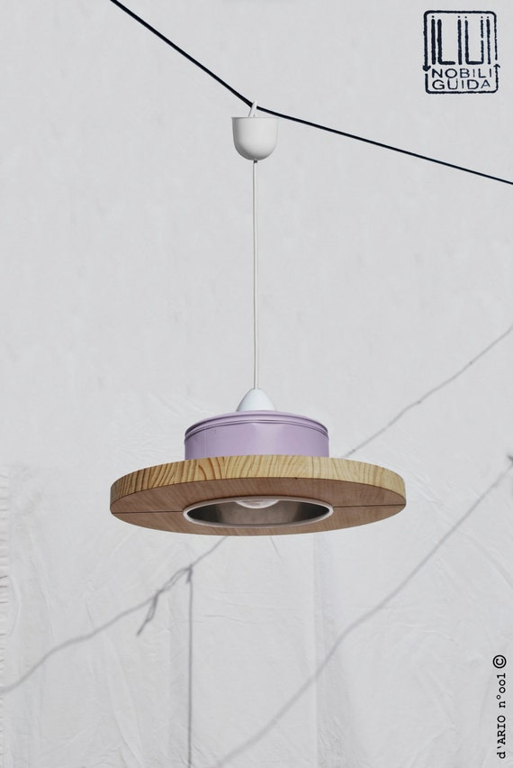 Hanging / Ceiling lamp / Pendant light, maulve-light violet color.. ECO-friendly: recyled from big coffe can! perfect for children's' room