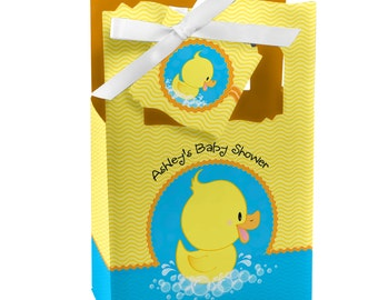 12 Ducky Duck Favor Boxes - Custom Baby Shower and Birthday Party Supplies