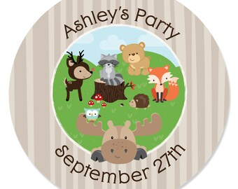 Woodland Circle Stickers - Personalized Woodland Creatures Baby Shower or Birthday Party DIY Craft Supplies - Woodland Animals - 24 Ct.
