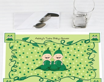 Set of 12 Two Peas In A Pod Placemats - Personalized Baby Shower or Birthday Party Supplies