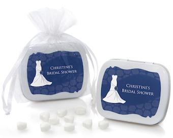 Wedding Dress Blue Mint Tin Party Favors - Bridal Shower Supplies - 12 Count