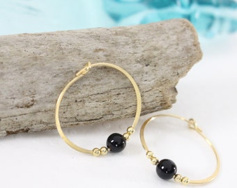 Gold filled hoop earrings Black Onyx bead semi precious stone endless round handmade
