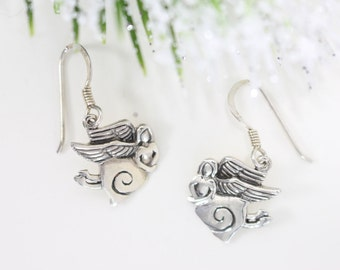 Flying Angel earrings. Sterling silver dangles drops. Whimsical Religious. Believe in yourself.