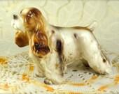 Adorable Vintage Porcelain Springer Spaniel Dog Figurine