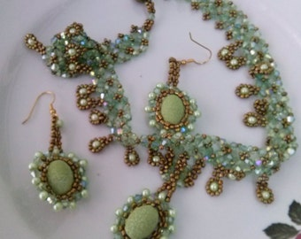Royal Necklace green and gold beads Cabochon center mother of bride groom