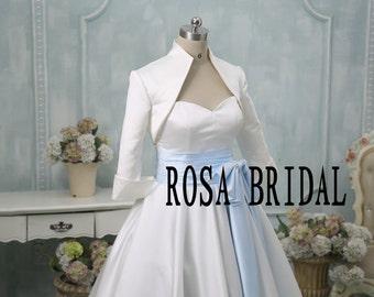 Bridal 3/4 sleeve satin wedding bolero jacket shrug, Wedding jacket 3/4 sleeves Custom Color Size