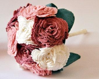 Peony Bouquet / Felt Flower Bouquet / Everlasting wedding flowers / Bridal Bouquet / Bridesmaid Bouquet /  Flower Girl Bouquet