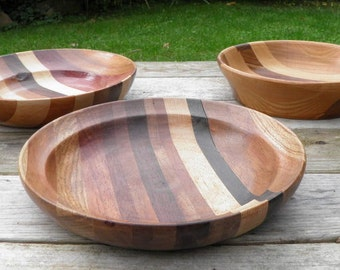 Vintage Set of 3 Wood Turned Bowls with a Variety of Various Woods