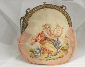 Price Rduced:  Petit point needlepoint purse - antique.