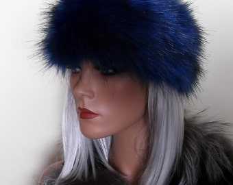 Long Haired Faux Fur Headbands made in Luxurious 65mm Faux Fur - Blue, Metallic Red, Purple