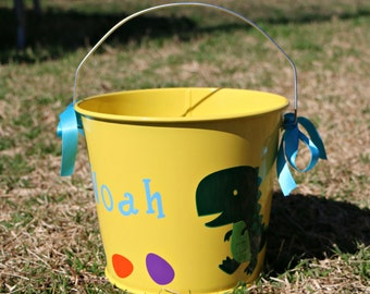 Yellow Dinosaur Easter Pail