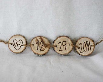 Rustic wedding custom initials and date, wedding decor, wedding sign, wooden date sign photo prop, wood burned date sign