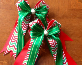 Holiday Hair Bows, horse shows, Chevron