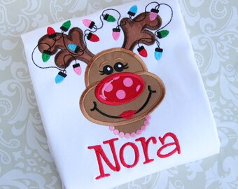 Personalized Reindeer Christmas Applique Shirt