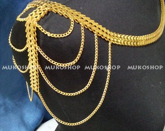 Gold Shoulder Chain, Necklace, Body Chain