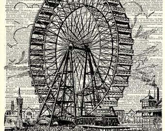 Ferris Wheel Art Print. Vintage book page art print. Print on book page.
