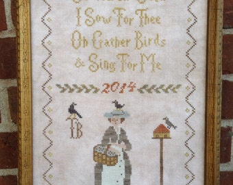 Mary Mustardseed~ Cross Stitch Bird Pattern/Chart from Scattered Seed Samplers© 2014 by Designer Tammy Black