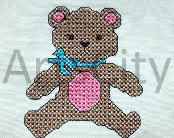 Teddy bear cross stitch Embroidery Design INSTANT DOWNLOAD embroidery ricamo orsetto orso punto croce