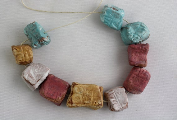 "Set of 10 handmade ceramic glazed art beads cubes ""box numbers"""