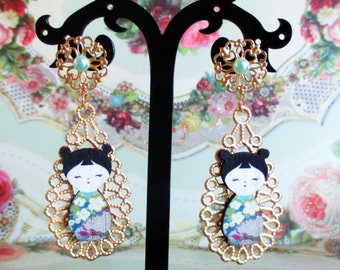 geisha earrings filigree black blue japanese earrings pearl rhinestone japan jewelry swarovski asian asia picture fairy kei dangle big long
