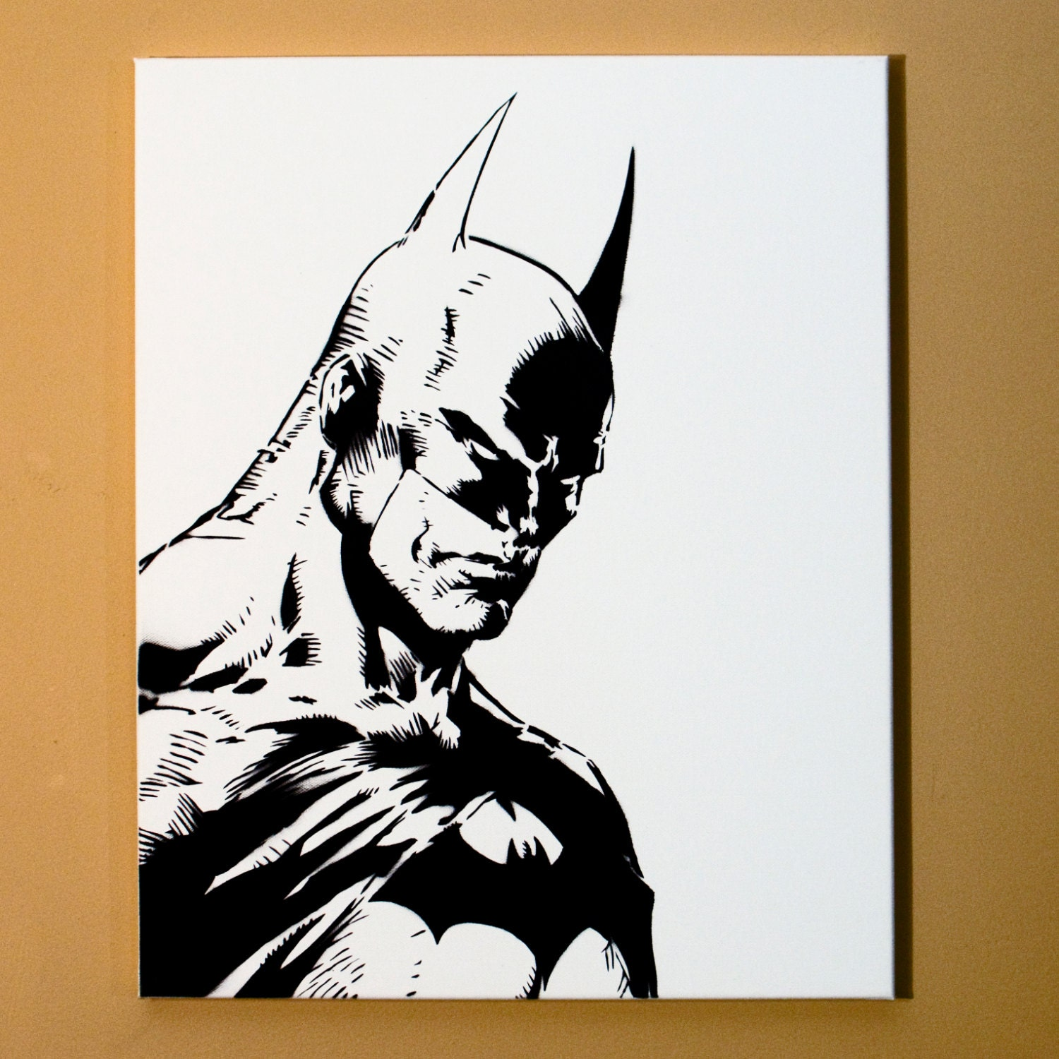 Batman art spray paint from handmade stencil black and for How to spray paint art on canvas