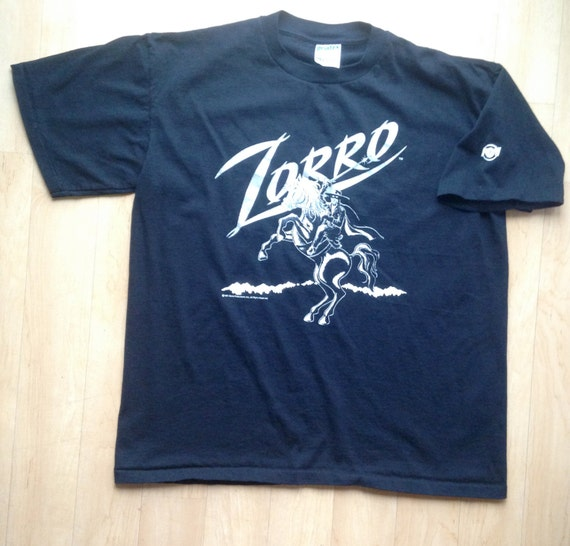 Vintage black zorro t shirt cool graphics on front back for Shirts with graphics on the back