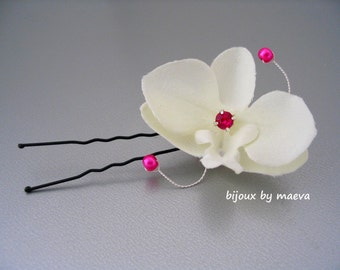 Orchid ivory wedding ceremony hairstyle fuchsia beads