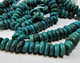 Green Blue Turquoise Colored Wood Rondelle Beads 5mm (60)