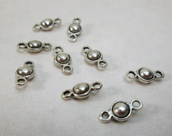 Small Pewter Silver Connector Bead 9mm (10)