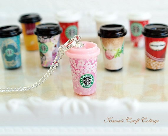 Miniature Food Jewelry Pendant Necklace Starbucks Coffee