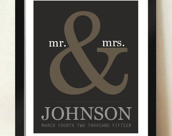 Digital Download Personalized Wedding Gift / Ampersand
