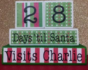 Personalized Christmas Countdown Blocks, Christmas Countdown