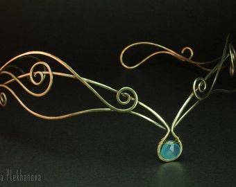 Elven tiara, Chalcedony tiara, Brass tiara, Elf diadem, Wire wrapped tiara