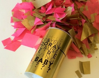 Gender Reveal - It's a Boy/Girl! (Set of 10 )Gold Confetti Poppers