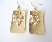 Handmade Earrings-Hand Hammered Gold Bronze Earrings with Pearls-Contemporary Earrings-Chic Earrings