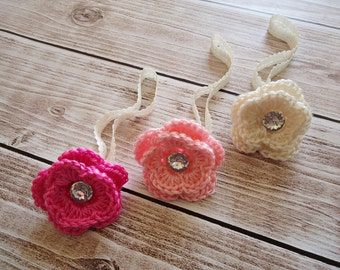 Crochet Baby Headband with flower, Haar band x 3