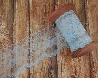 "Light Blue Polyester Raschel Flat Lace Trim 3"" 5 yards"