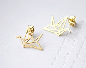 Origami Crane Earring 18k Gold Plated / Crane Shaped Earrings / Gold Earrings / Unique Crane Earrings  E.0004