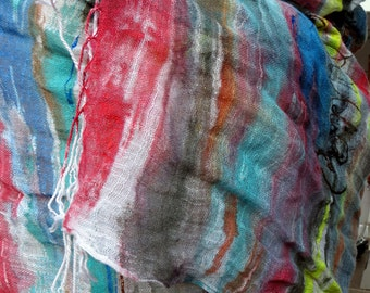 """Like sea waves""""   is the writing on the colorfast hand painted linen scarf."""