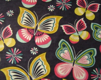 Graphic Butterflfy Flannel Fabric by the yard