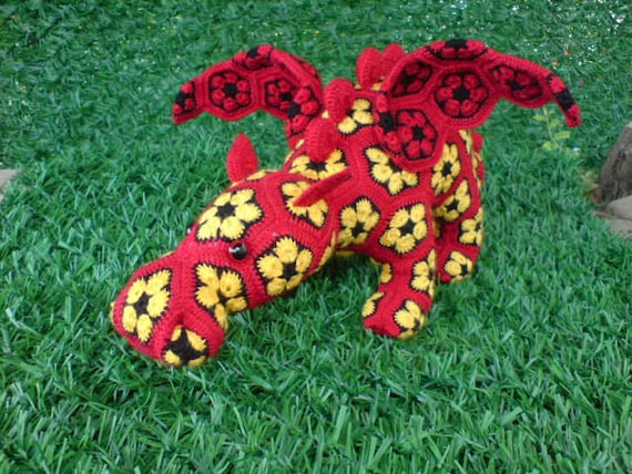 African Flower Crochet Dragon Pattern : Items similar to Smaug the Pouty Dragon Crochet African ...