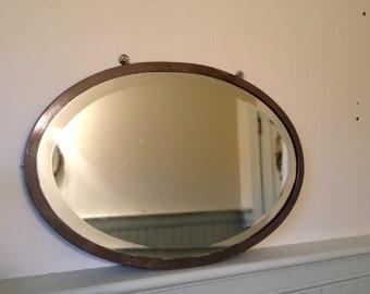 Vintage metal industrial beveled mirror